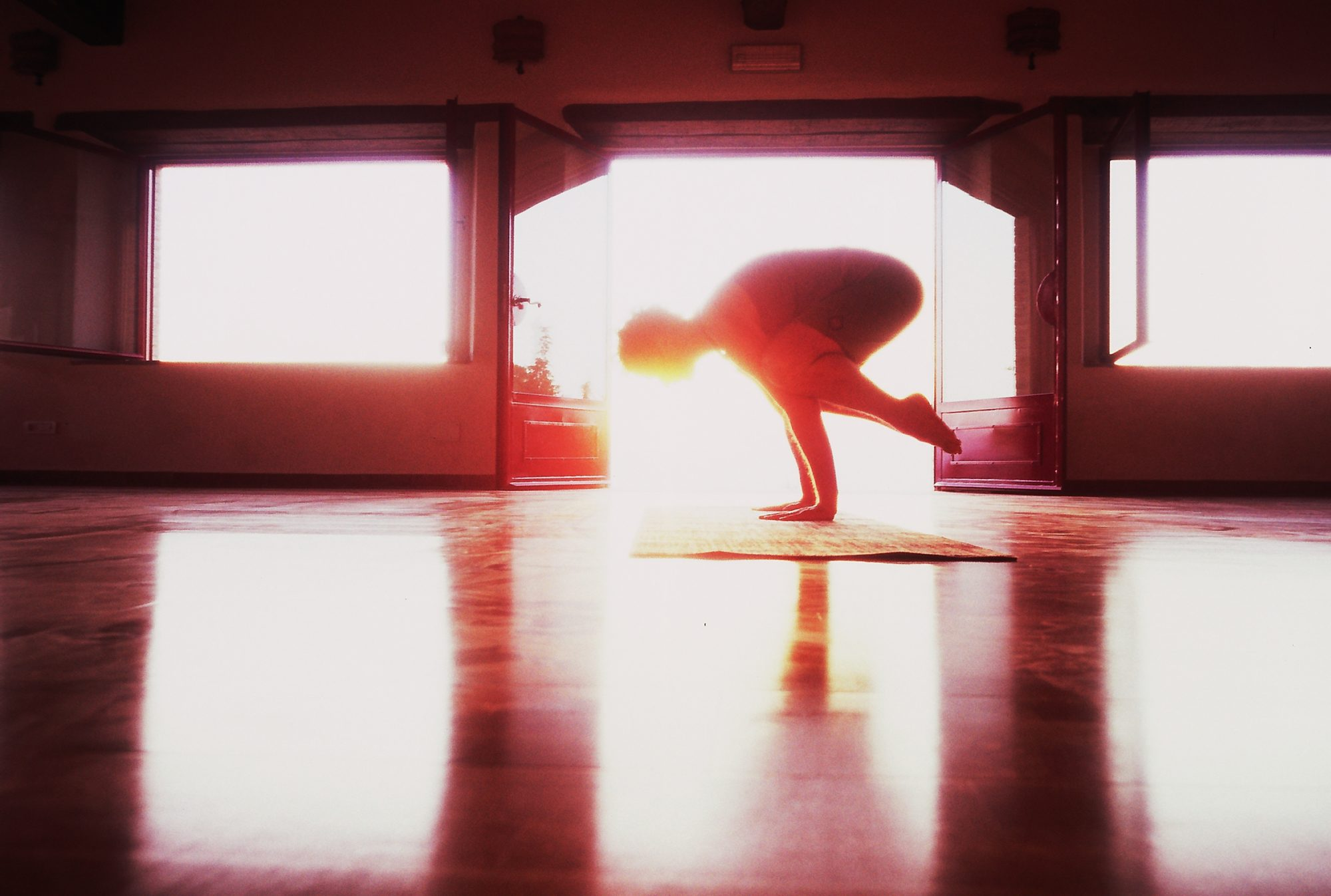 Carl Hargreaves in Crow yoga pose